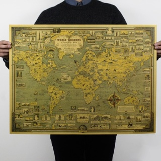 Map Of World Architectural wonders Poster Retro Room Cafe Bar Decor Poster