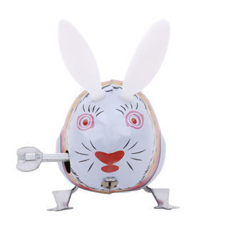 Clockwork Iron Material CanJump Rabbit Children Companion Toys Cute Colored BS