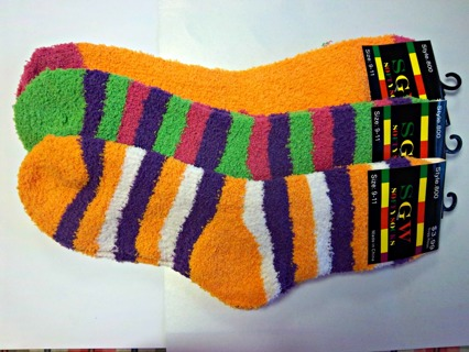 NEW- 3 PAIRS SOFTY SOCKS - Women's 9-11 (Shoes Size 5-10) Fun and Fuzzy Warm