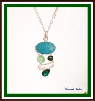 "(❀)❤️(❀)    Emerald, Pearl & Green Quartz 925 Overlay Necklace ~ 26"" ~ NEW!! (❀)❤️(❀)"