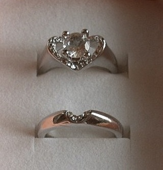 GORGEOUS 14KT WHITE GOLD PLATED CRYSTAL TOPAZ WEDDING RING SET SZ 8 FREE GIFT! FREE SHIP!