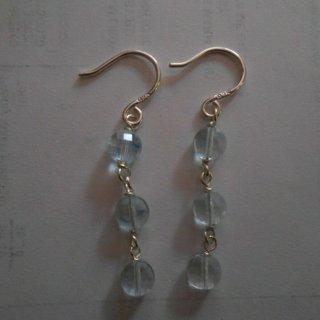 925 sterling silver natural aquamarine dangle earrings