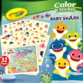 "Brand New: Crayola BABY SHARK 10""x8"" Coloring & Sticker Book! Gr8 Fun! Crafts!"