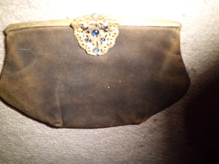 ANTIQUE SOFT LEATHER CLUTCH W/ORNATE CLASP FREE SHIPPING!