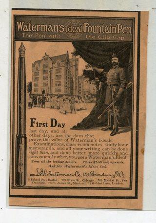 Late 1800's Waterman's Fountain Pen Magazine Print Ad