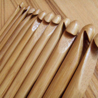 12Pcs Carbonize Knitting Crochet Hooks Needles Bamboo