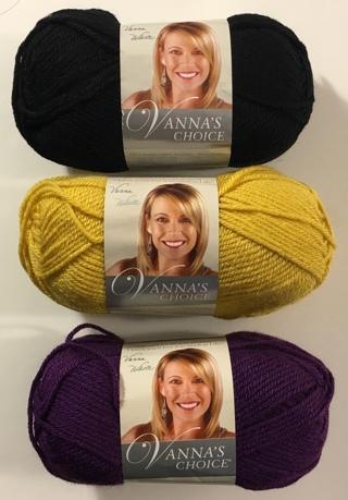 Vanna's Choice Lion Brand Acrylic Yarn Lot of 3 Skeins Colors: Black, Mustard, Eggplant (Purple)