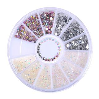 DIY Nail Art Tips Charm Gems Crystal Glitter Rhinestones 3D Shiny Decor Wheel