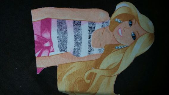 2 barbie iron on cloth hand cut Pellon backing