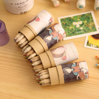 12Pcs Wooden 12 Colors Painting Writing Pencils Sharpener Mini Cute Child Gift