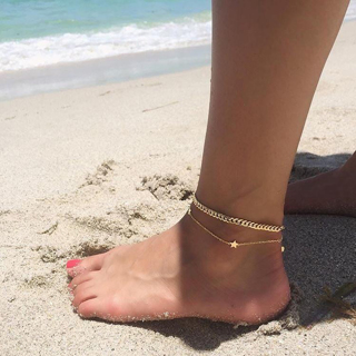 Classic Simple Multilayer Chain Stars Pendant Gold Silver Anklet Set Women Summer Beach Fashion