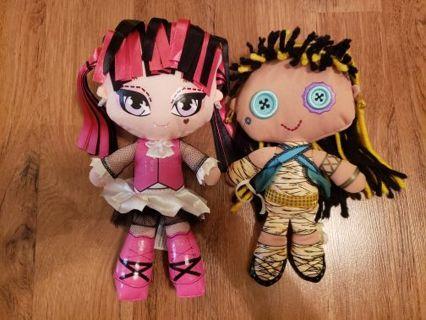 Monster High Plush Draculaura and Cleo Plush Dolls