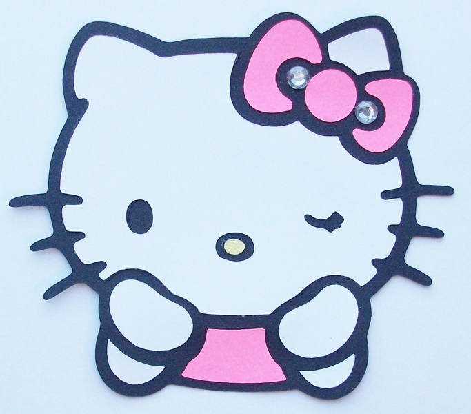 Free Winking Hello Kitty 4 Inch Cricut Cut Out Scrapbooking