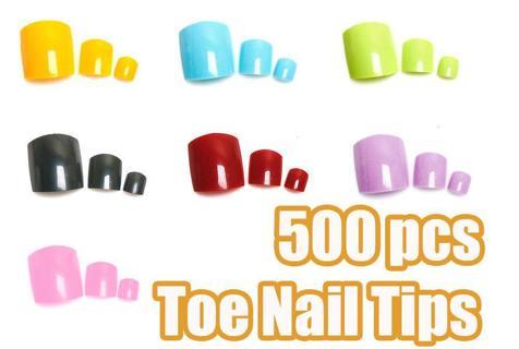 500 Pcs Colorful Acrylic False Fake Artificial Toe Nails Tips For Nail Art Decor