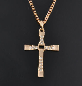 "THE FAST & The FURIOUS Dominic Toretto's CROSS PENDANT 26"" Gold Necklace"