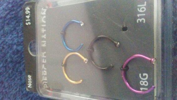 18G set of 4 Nose rings