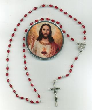 Faceted Oval DarkRed Rosary R105