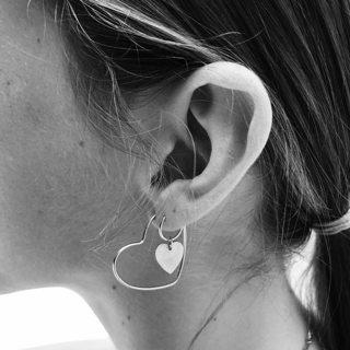 4 Pcs/Set Bohemia Vintage Personality Punk Heart Silver Earrings Ladies Fashion Jewelry Accessories