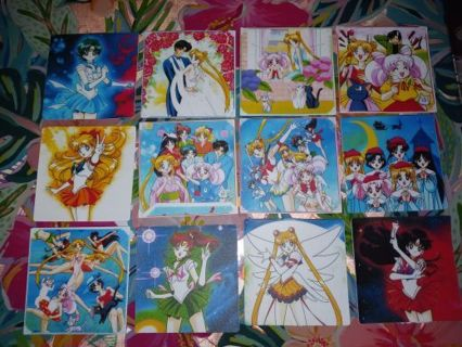 """❤✨❤✨❤12 BRAND NEW LARGE HIGH END """"SAILOR MOON"""" STICKER SQUARES❤✨❤✨❤LAST 1!"""