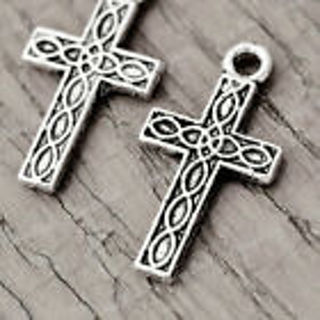 2 silver tone cross charms