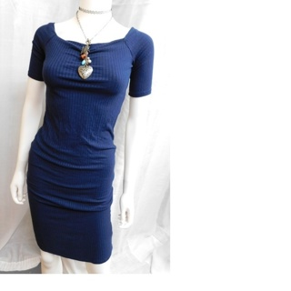 LOVE J Navy Blue Soft Stretch Ladies Dress Medium