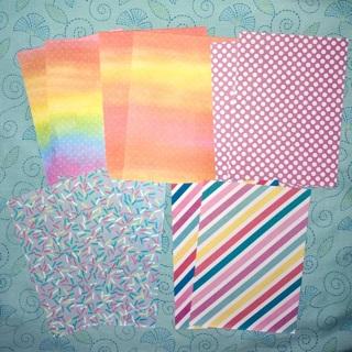 "10 New Sheets of 5""x7"" Polka Dots and Prints Paper."