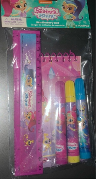 BNIP Nickelodeon's: SHIMMER and SHINE 5Pc Stationery Set! Ruler/Markers/Note Pad