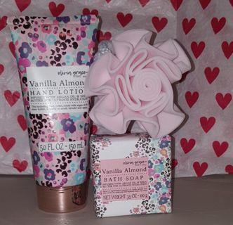 Vanilla Almond Bath Bar, Hand Lotion, Rose Sponge New & Gift Wrapped!