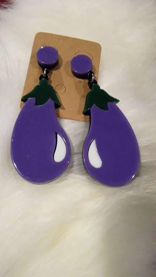 Adorable eggplant earrings