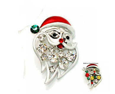 Hand enameled santa clause pin multi or clear NWT