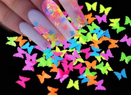 neon butterfly glitter