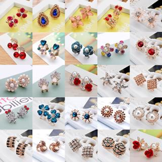 Women Fashion Jewelry Lady Elegant Rhinestone Crystal Flower Ear Stud Earrings