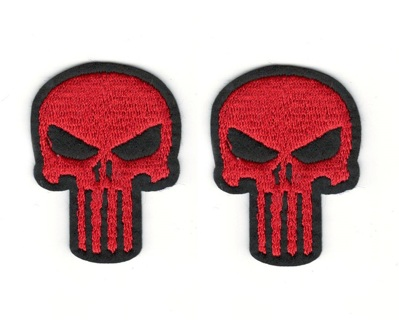 (2) THE PUNISHER Red Skull Logo IRON On Patches Clothing Embroidery Decoration Patch FREE SHIPPING