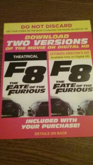 Fast and the Furious 8 hd code