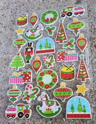 CHRISTMAS SPARKLE FOAM RUBBER STICKERS LOT 9