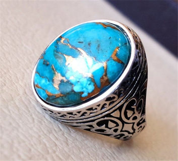 Jewelry Wedding Party Women/ Men Turquoise 925 Silver Ring Size 6-10