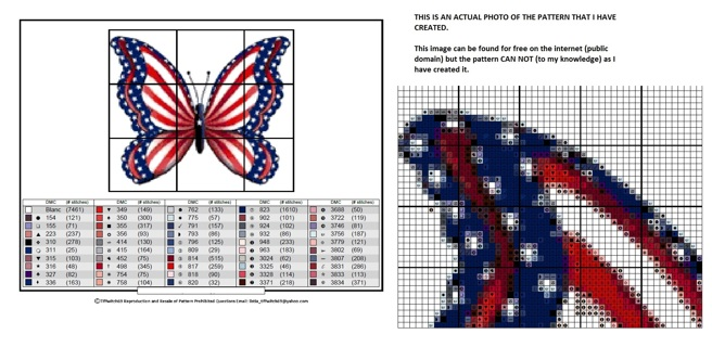 American Flag Butterfly Cross Stitch Pattern