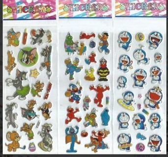 Variety Pack Puffy Stickers TOM JERRY Elmo anime kids boys girls Vibrant Detailed
