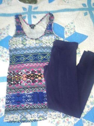 Multi color top & dark blue legging sm/14/16