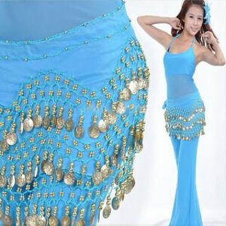 Belly Dance Dancing Hip Skirt Scarf Wrap Chiffon 3 Layers Gold Coin Waist Belt