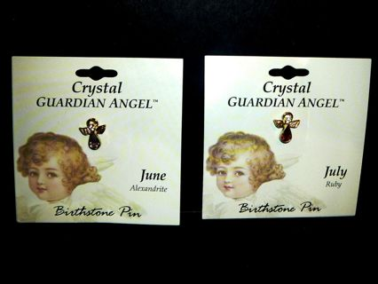 Two 1996 Crystal Guardian Angel Pins or Lapel / June and July Birthstones