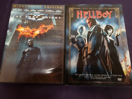 Lot of 2 Used Action/Super Hero DVD Movies Videos Batman The Dark Knight and Hellboy