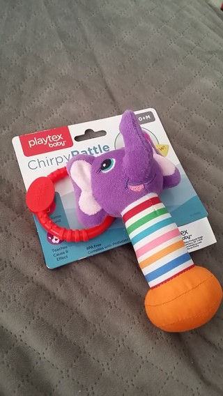 New Playtex Baby Chirpy Soft Elephant Rattle Ring 0+M (Bonus Baby Mittens Incl W/GIN) Free Shipping