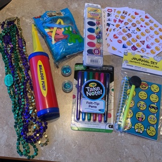 Kids items, emoji's , crayons, balloons and more
