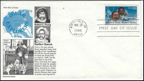 Peary-Henson North Pole Arctic Exploration First Day Cover, Scott #2223, USA 1986