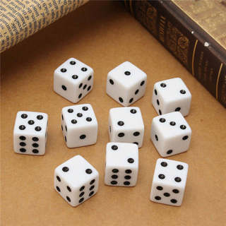 10 Six Sided Square Opaque 16mm D6 Dice - White with Black Pip Die