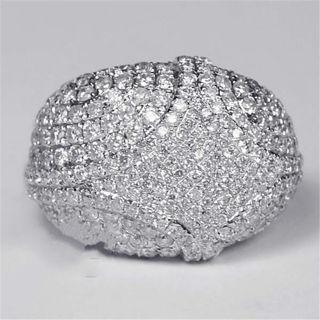 Men's Women's Silver Natural White Gemstone Ring Wedding Fine