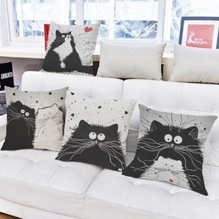 [GIN FOR FREE SHIPPING] Cat Cotton Linen Throw Pillow Case Sofa Waist Cushion Cover