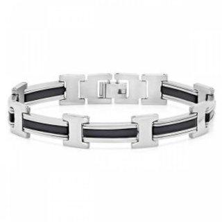 """STAINLESS STEEL Black Rubber bracelet 8"""" NWT"""