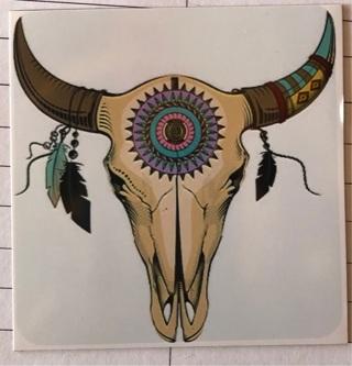 """Bull Skull Native American - 3 x 3"""" MAGNET"""